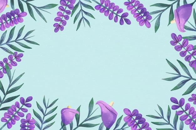 Flores violetas copiam o fundo floral do espaço