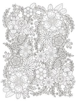 Floresça página para colorir floral em linha requintada