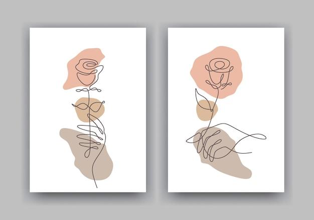Floresça um desenho de linha mínimo. conjunto de capas de pôster de beleza rosa.