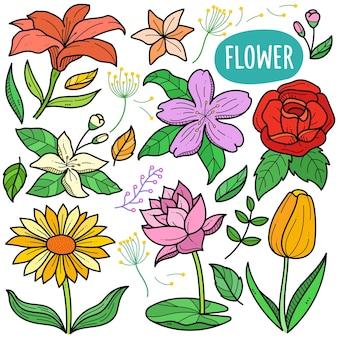 Floresce elementos gráficos vetoriais coloridos e ilustrações de doodle