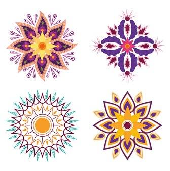 Floresce mandalas florais ícones de decoração tradicional da cultura hindu