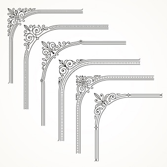 Floresce moldura ornamentada ou elementos de canto de borda. ilustração.