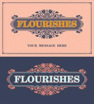 Floresce moldura ornamental. modelo de vetor cartão vintage ornamento. estilo retrô