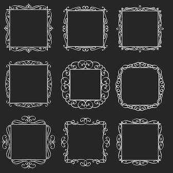 Floresce o conjunto de quadros quadrados. elementos caligráficos. rótulos retrô de monograma. branco sobre preto, ilustração.