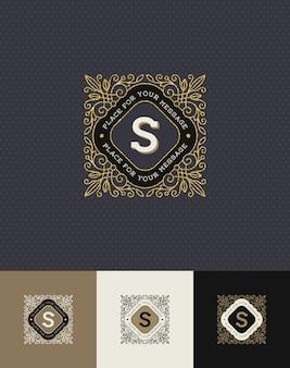 - floresce o logotipo do monograma de ouro brilhante.