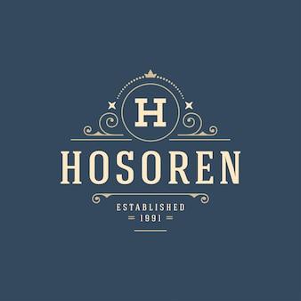 Floresce o modelo de monograma de logotipo caligráfico ornamento de contorno de luxo