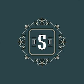 Floresce o modelo de monograma logotipo caligráfico quadro de ornamento de contorno de luxo