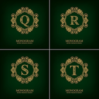 Floresce o modelo do emblema qrst, elementos de design do monograma, modelo caligráfico gracioso.