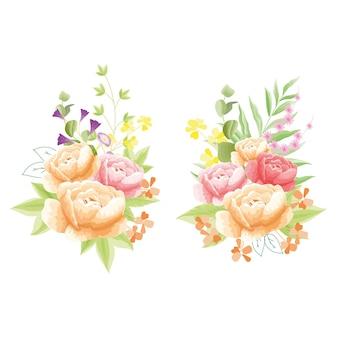 Floresce peônia vermelha e laranja com flor adonal rosada
