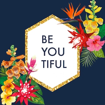 Florescendo a mola e o quadro floral dourado do verão com hibiscus. flores de lírio de tigre aquarela