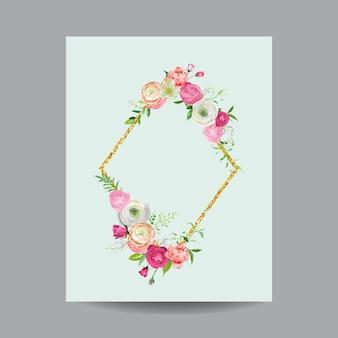 Florescendo a primavera e o quadro floral do verão com borda de brilho dourado. aquarela flores cor de rosa para convite, casamento, cartão de chá de bebê em vetor