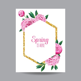 Florescendo a primavera e o verão floral design com moldura dourada. flores de peônia rosa aquarela para convite, casamento, cartão do chuveiro de bebê, cartaz, banner. ilustração vetorial