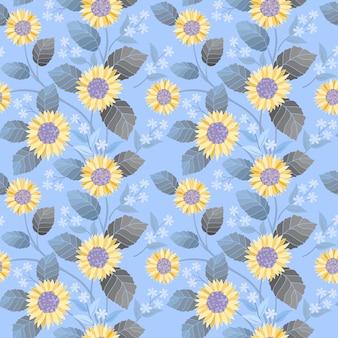 Florescendo amarelo e pequenas flores brancas sem costura padrão