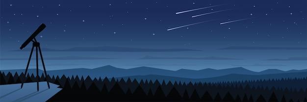 Floresta à noite e espaço observação paisagem cena