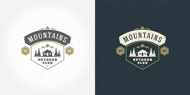 Floresta acampamento logotipo emblema vetor verão acampamento ilustração montanhas com cabana e pinheiros