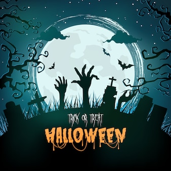 Floresta assustadora de halloween à noite