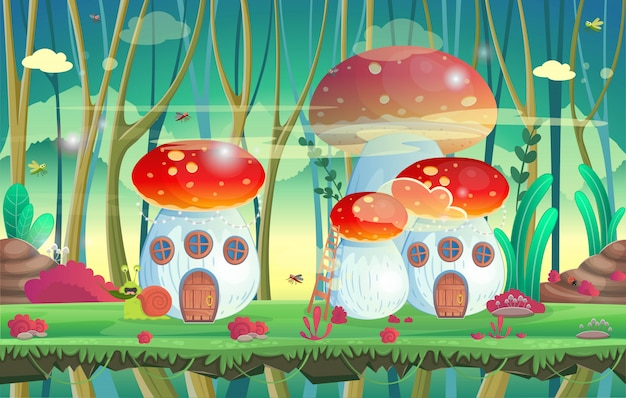Floresta com casas de cogumelos. ilustração vetorial para jogos