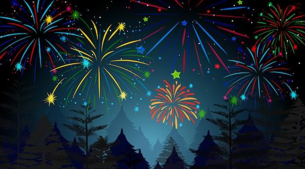 Floresta com cena de fogos de artifício celebração