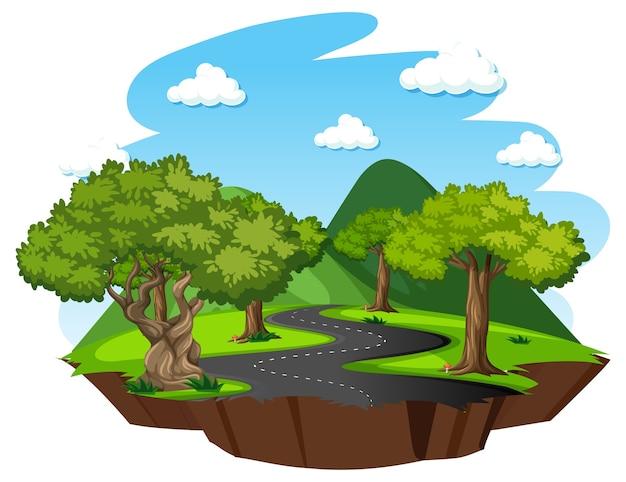Floresta com elementos da natureza