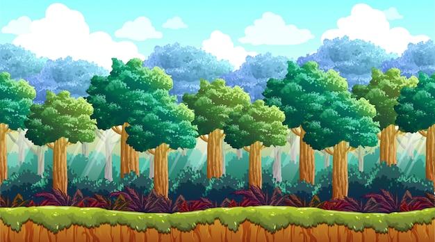 Floresta com fundo de arbusto