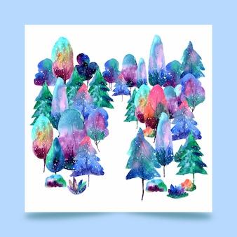 Floresta de árvores em aquarela