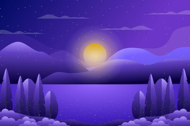 Floresta de cenário roxo com ilustração de céu e mar