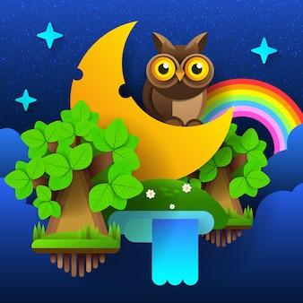 Floresta de fadas da noite. lua no céu com um arco-íris e estrelas. ilustração vetorial.