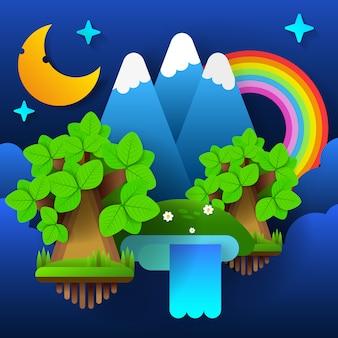 Floresta de fadas da noite. lua no céu com um arco-íris e estrelas. vetor