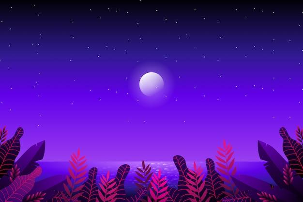 Floresta de fantasia com céu estrelado e mar