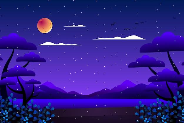 Floresta de fantasia de cenário com fundo de ilustração de mar e montanha