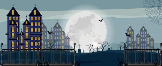 Floresta de halloween com bandeira de castelos, cemitério e morcegos