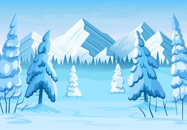 Floresta de inverno com pinheiros e montanhas.