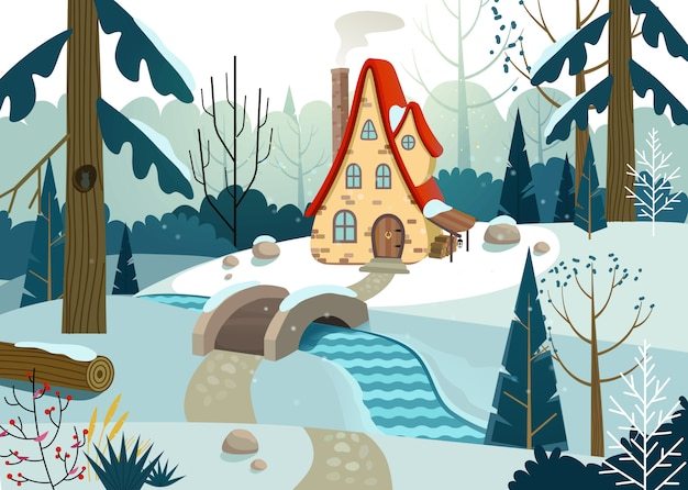 Floresta de inverno com uma casa e uma ponte sobre o rio. casa cercada por árvores e neve. ilustração.