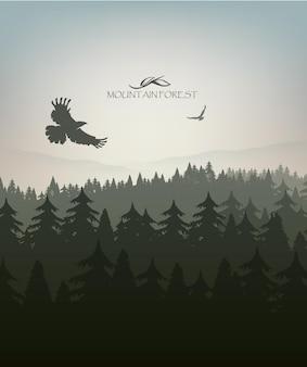 Floresta de montanha em nevoeiro e nascer do sol com estrelas. ilustração