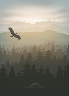 Floresta de montanha em nevoeiro e nascer do sol com estrelas.