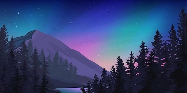 Floresta de montanha na paisagem da aurora boreal