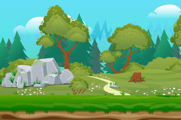 Floresta de natureza de beleza de desenhos animados de fundo. paisagem de floresta de verão