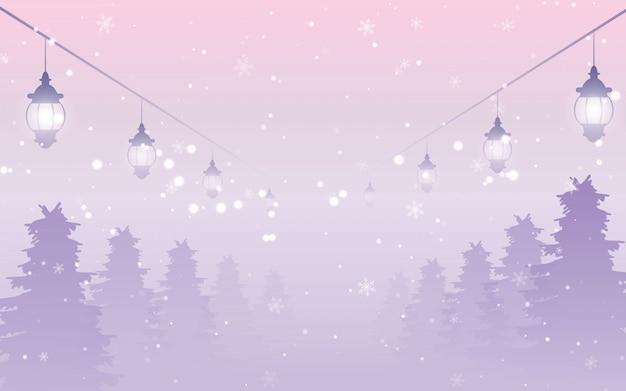 Floresta de neve noite com neve caindo e lanterna