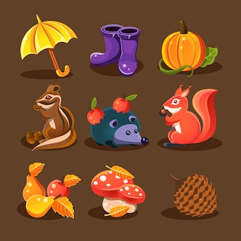 Floresta de outono, animais da floresta, flores