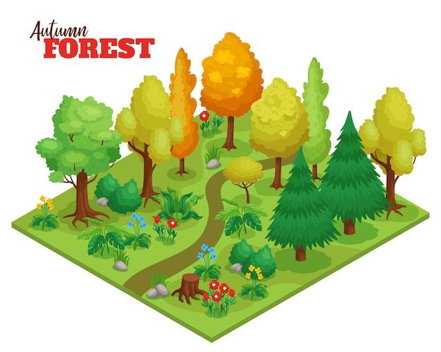 Floresta de outono com árvores, flores e ilustração isométrica de caminho