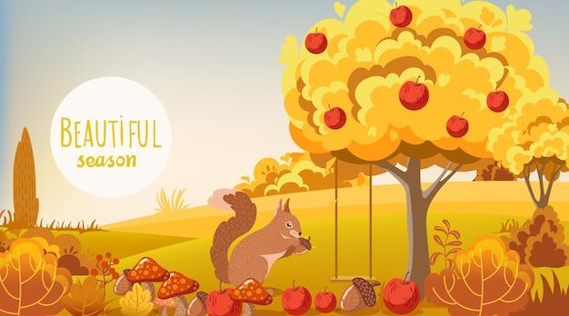 Floresta de outono com esquilo comendo uma bolota