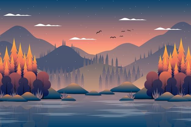 Floresta de outono de paisagem com ilustração de montanha e céu
