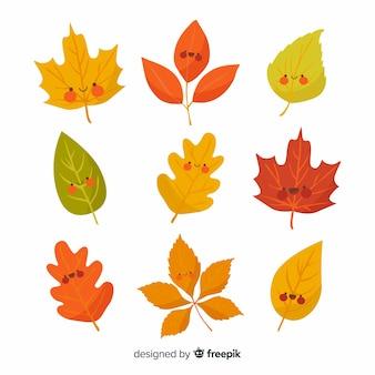 Floresta de outono desenhada mão deixa a coleção