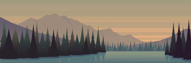 Floresta de outono e bela paisagem do lago