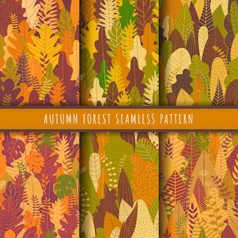 Floresta de outono e coleção sem costura padrão de natureza.