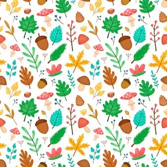 Floresta de outono folhas padrão sem emenda