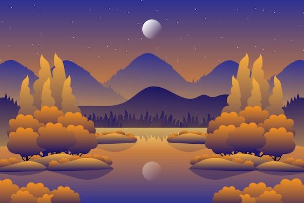 Floresta de outono paisagem com ilustração do céu da noite estrelada