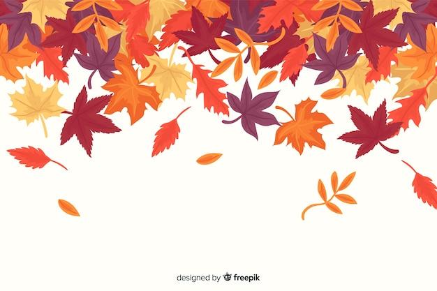 Floresta de outono plana deixa o fundo