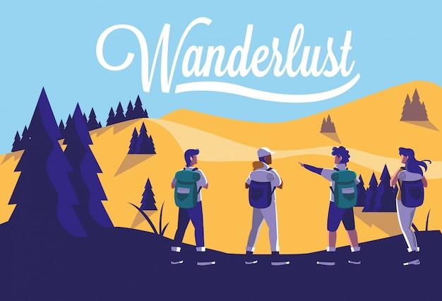 Floresta de paisagem de ilustração com viajantes desejo de viajar