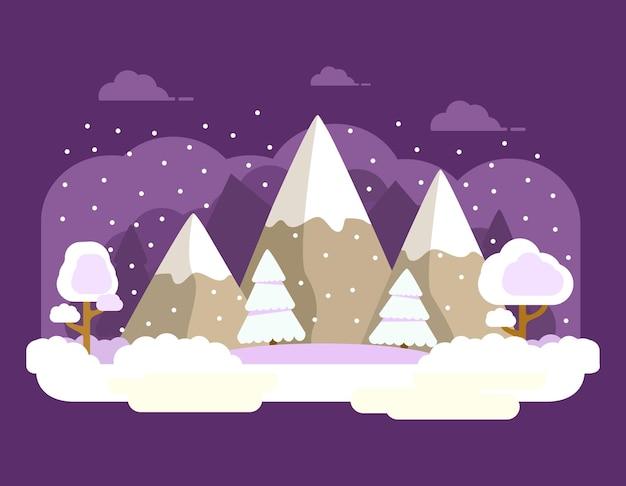 Floresta de picos de montanha no inverno